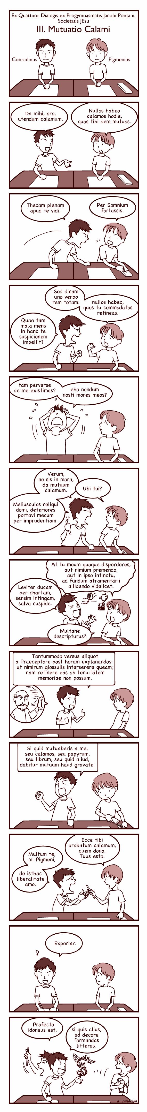 ラテン語漫画:ペン貸して!